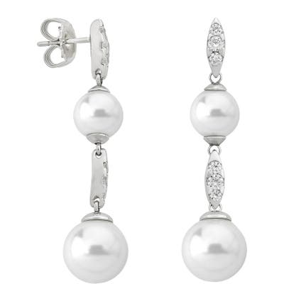 Majorica Simulated Pearl & Cubic Zirconia Drop Earrings