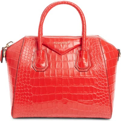 Givenchy Small Antigona Croc Embossed Calfskin Satchel - Red