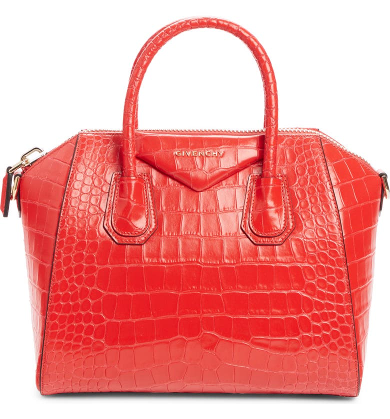 GIVENCHY Small Antigona Croc Embossed Calfskin Satchel, Main, color, RED