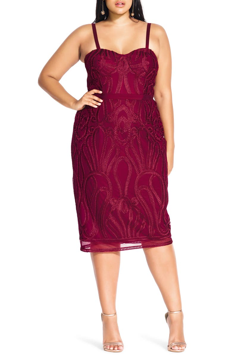 CITY CHIC Antonia Strapless Sheath Dress, Main, color, RUBY
