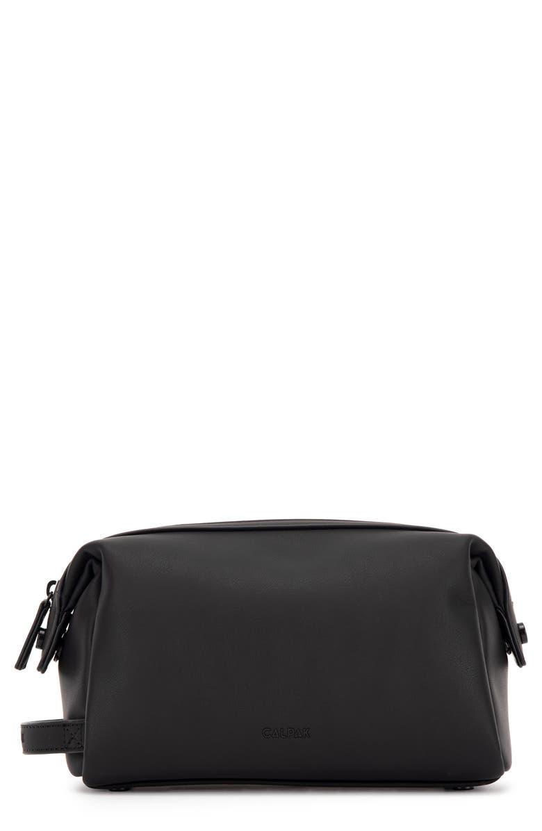CALPAK Hue Faux Leather Toiletry Bag, Main, color, BLACK