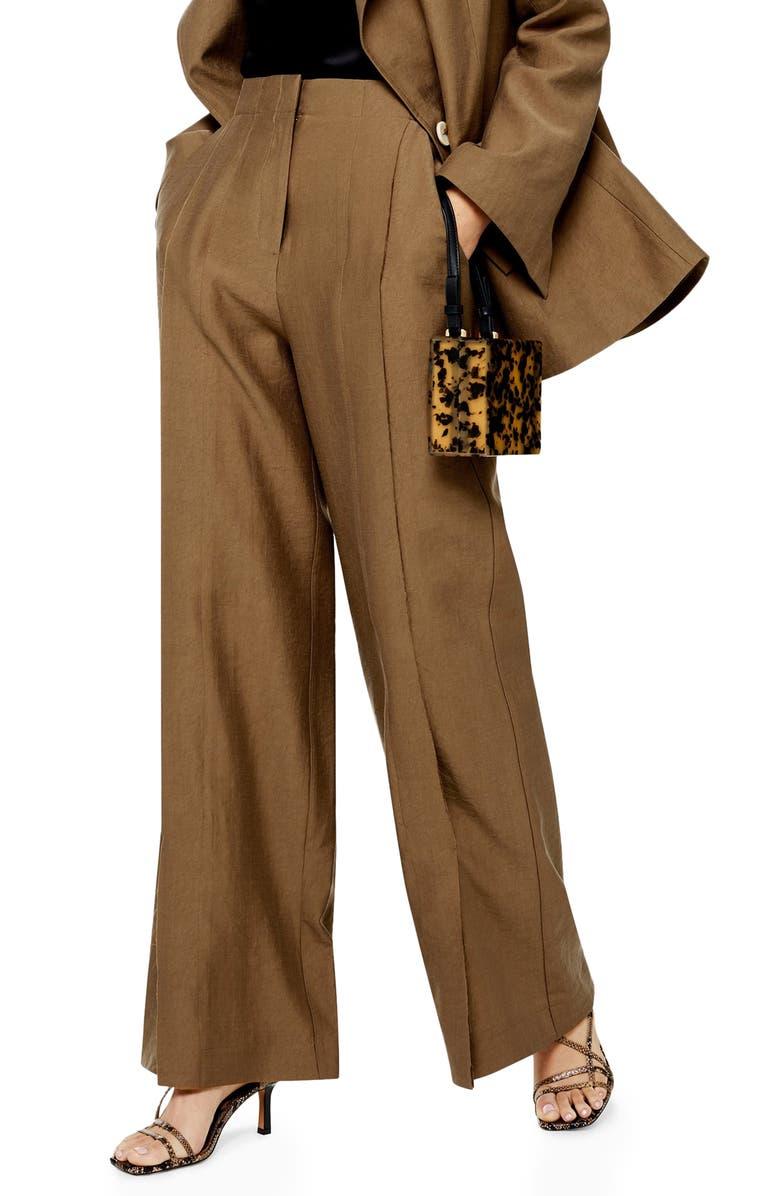 TOPSHOP Raw Hem Wide Leg Trousers, Main, color, CAMEL