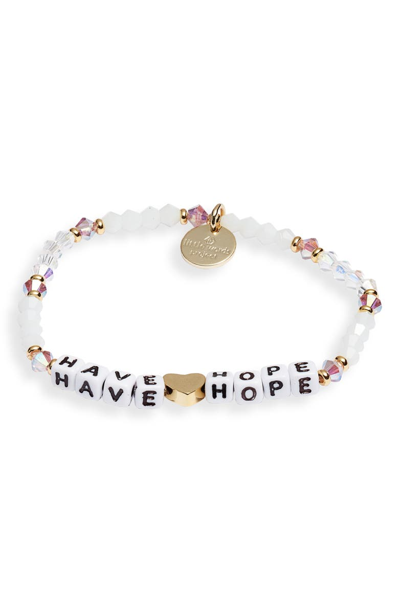 LITTLE WORDS PROJECT Breast Cancer Support Beaded Stretch Bracelet, Main, color, WHITE