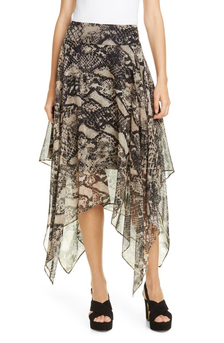 TOMMY HILFIGER Tommy x Zendaya Snake Print Handkerchief Hem Skirt, Main, color, SNAKE PRINT