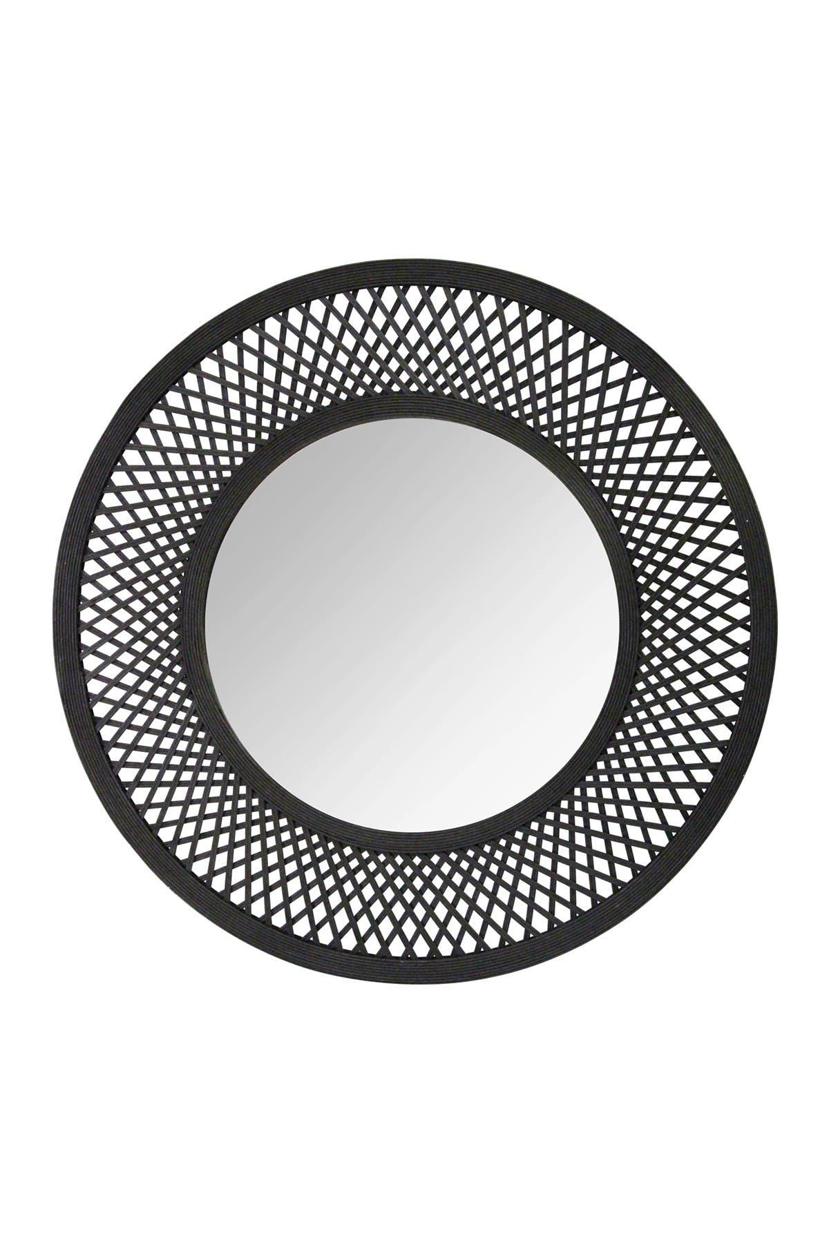 Image of Stratton Home Black Andi Black Woven Rattan Mirror