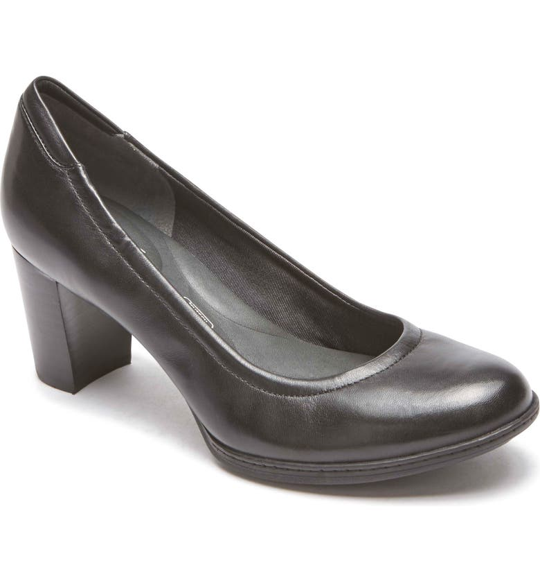 ROCKPORT Chaya Round Toe Pump, Main, color, BLACK LEATHER