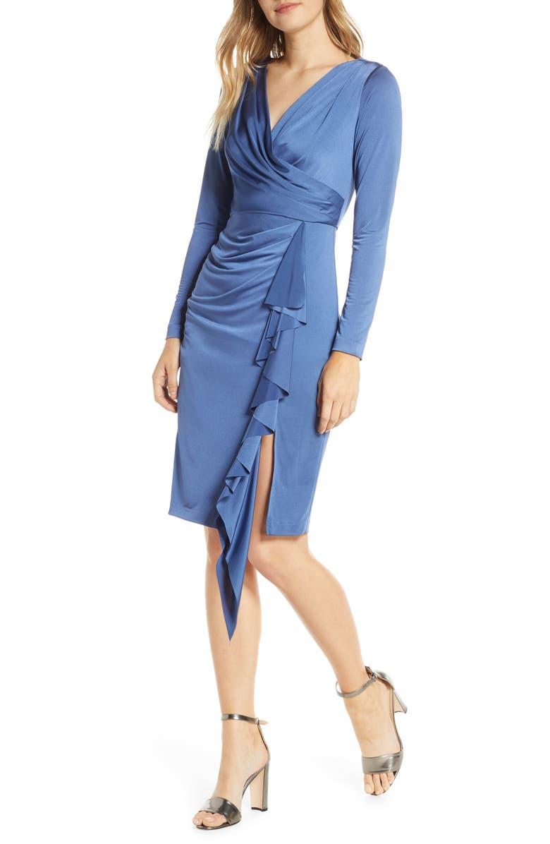 ELIZA J Long Sleeve Faux Wrap Knit Dress, Main, color, NAVY