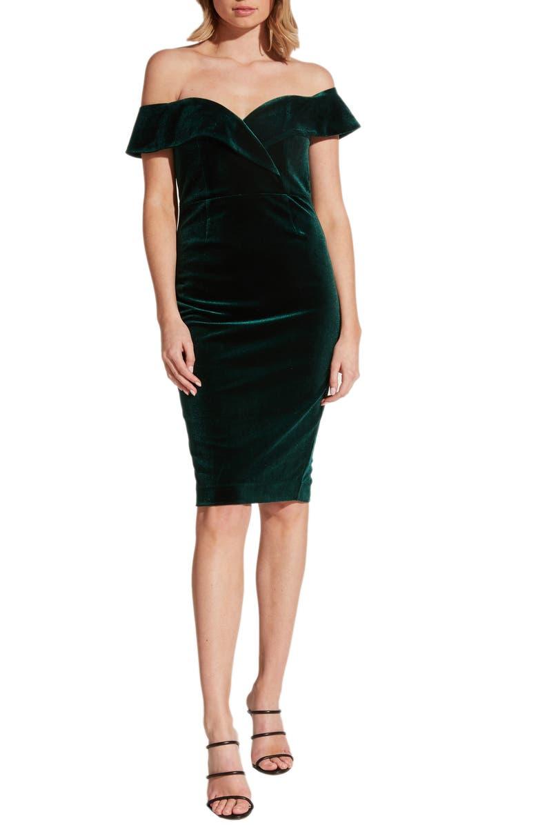 BARDOT Bella Off the Shoulder Velvet Dress, Main, color, 308