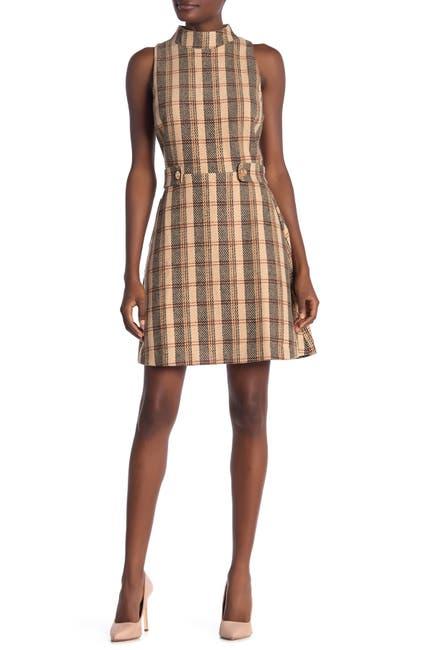Image of Alexia Admor Avery Plaid Mock Neck Fit & Flare Dress