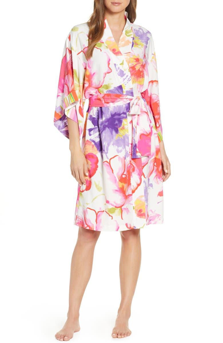 NATORI Soleil Floral Print Robe, Main, color, MLT HT PINK MULTI