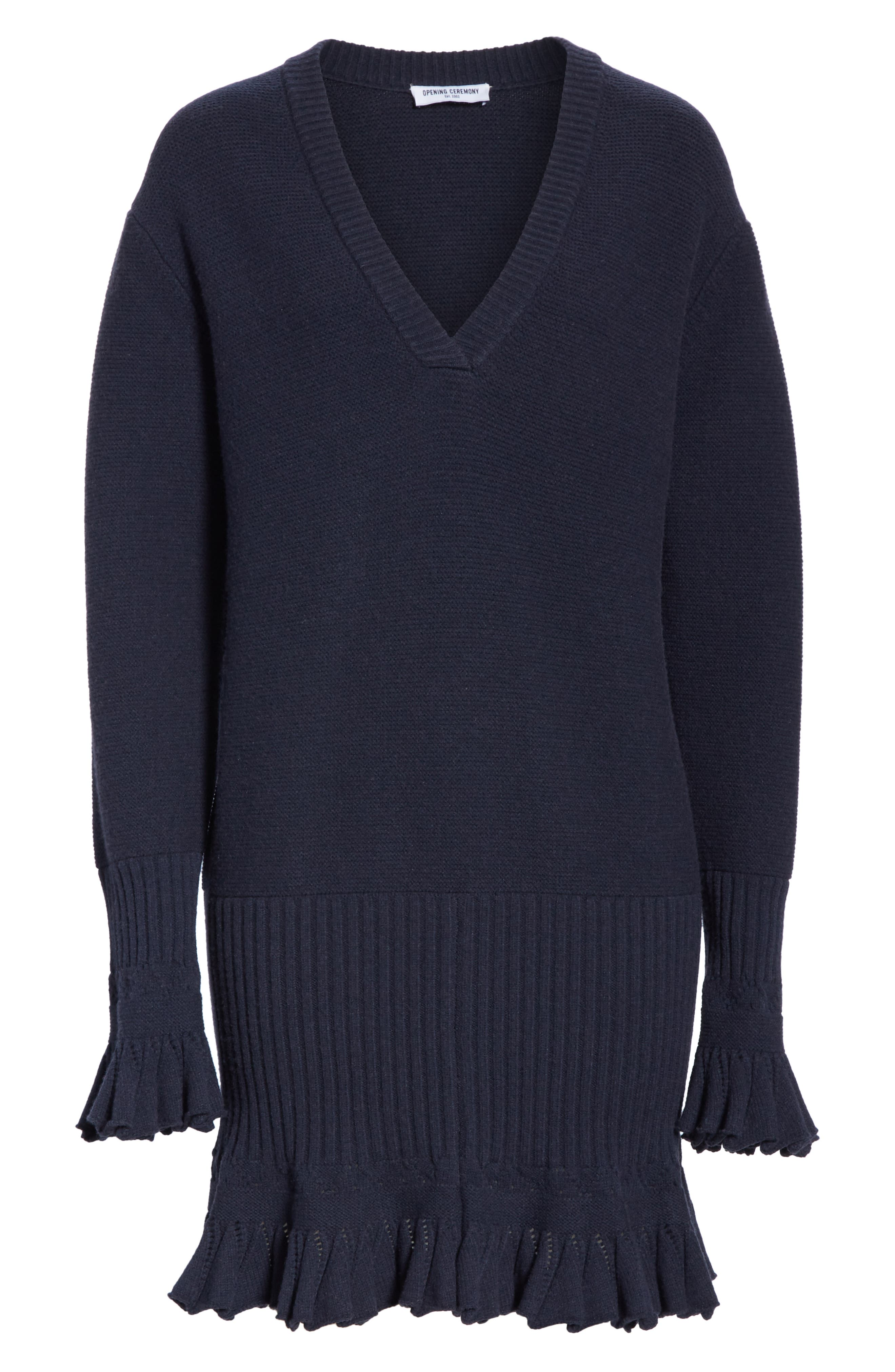 ,                             Ruffle Trim Sweater Dress,                             Alternate thumbnail 6, color,                             NAVY