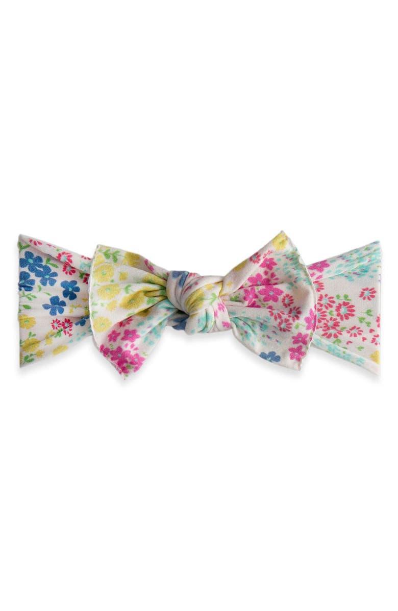 BABY BLING Printed Knot Headband, Main, color, TINY SPRING