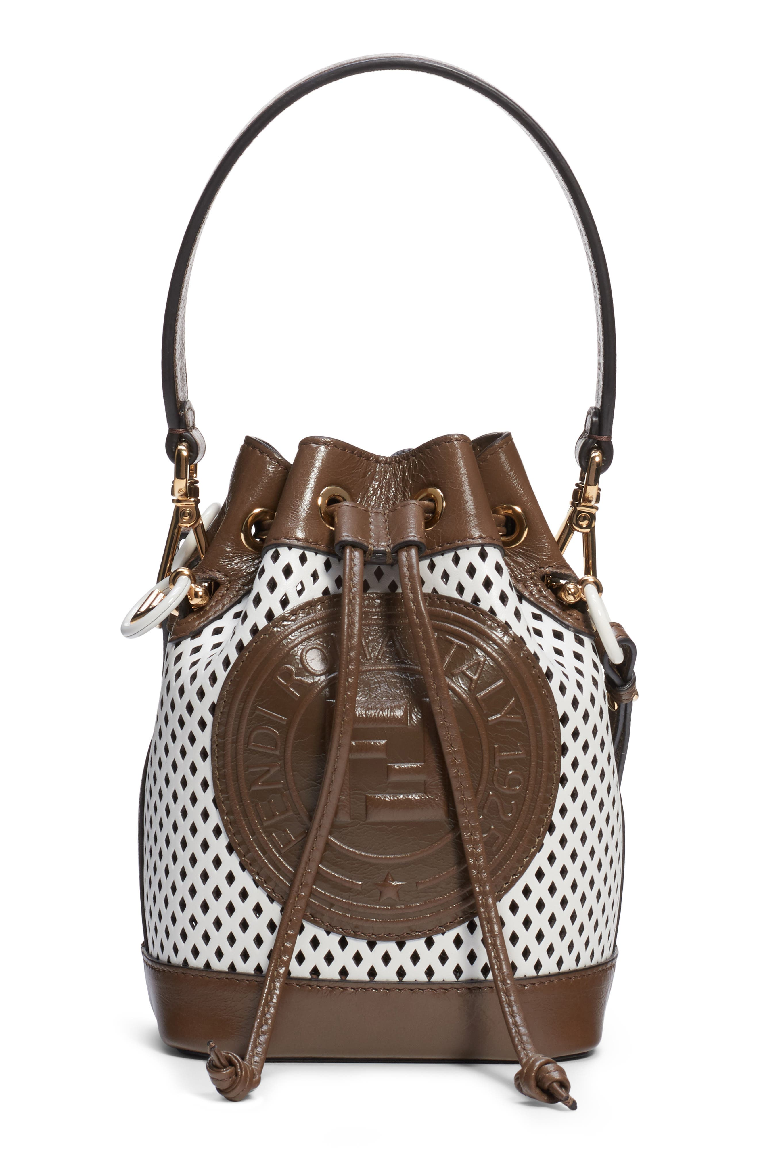 Fendi Bags Mini Mon Tresor Perfoarted Leather Bucket Bag