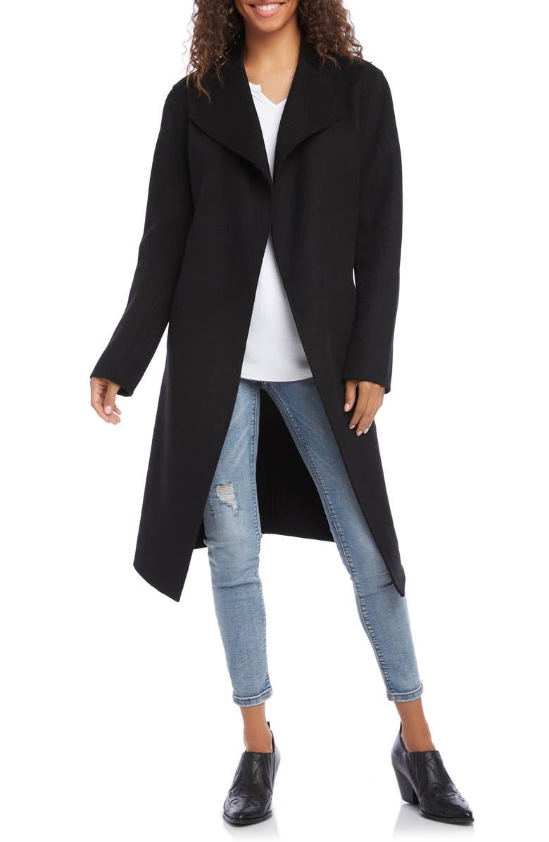 KAREN KANE Belted Coat, Main, color, BLACK