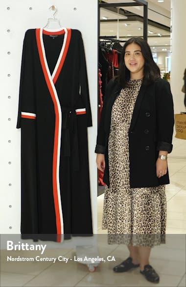 Stripe Tipped Long Sleeve Wrap Dress, sales video thumbnail