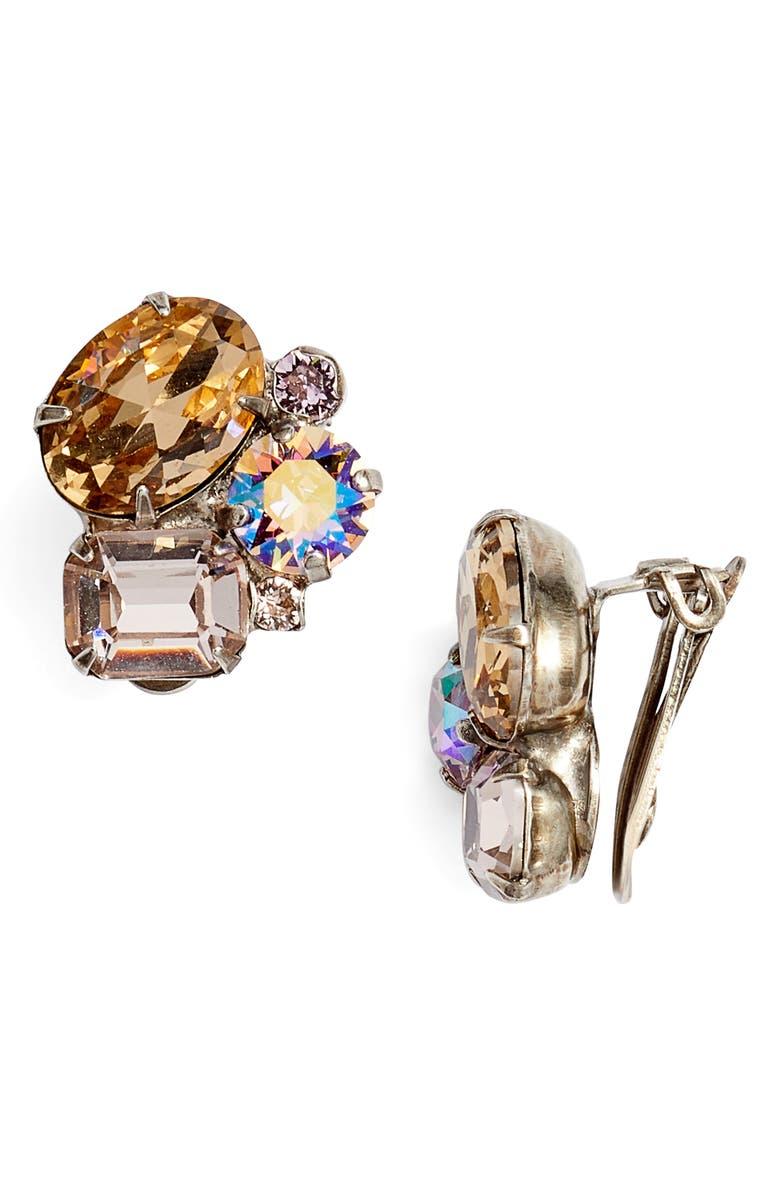 SORRELLI Cluster Crystal Clip Earrings, Main, color, 710