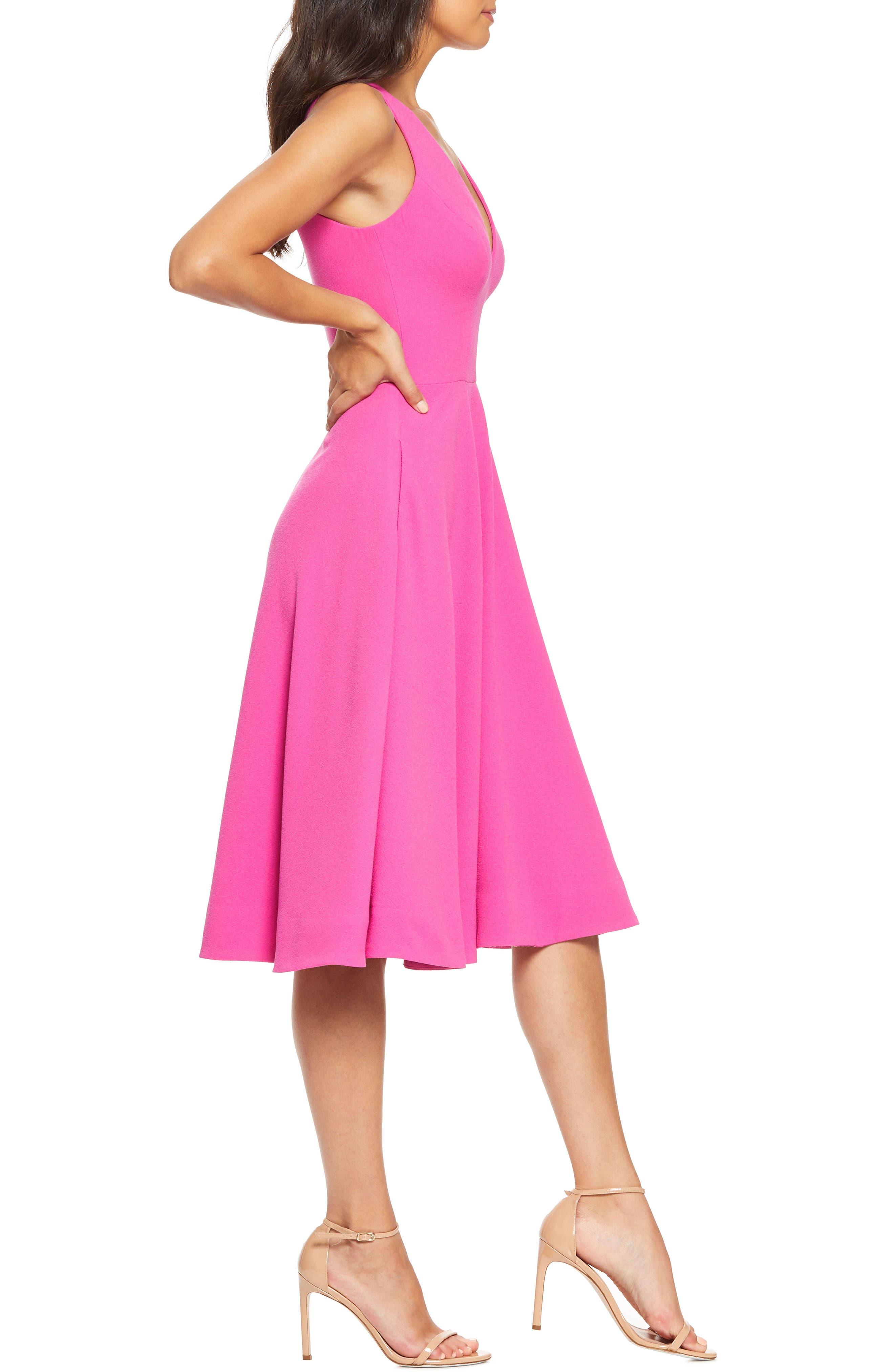 ,                             Catalina Tea Length Fit & Flare Dress,                             Alternate thumbnail 4, color,                             BRIGHT FUCHSIA