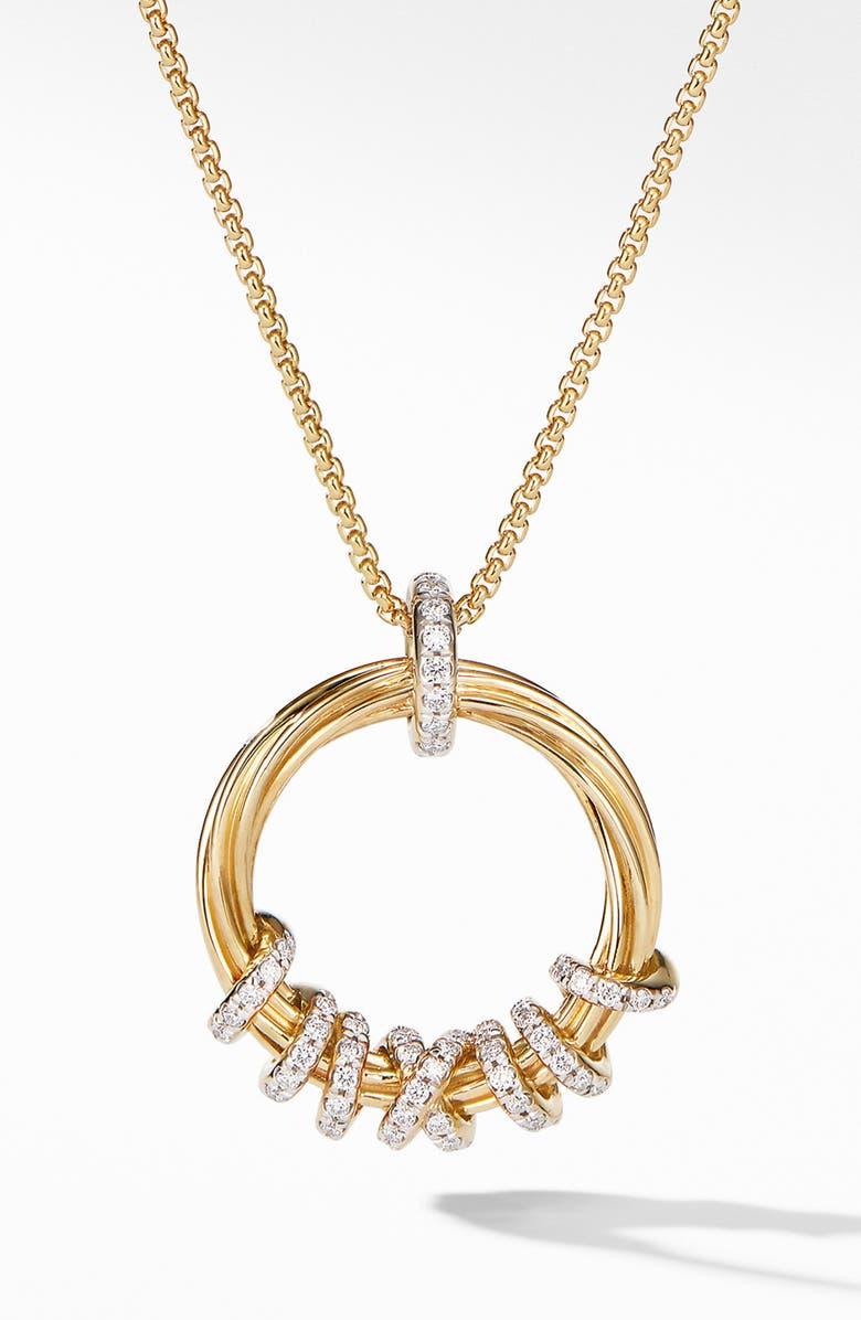 DAVID YURMAN Helena Round Pendant Necklace in 18K Yellow Gold with Diamonds, Main, color, GOLD/ DIAMOND
