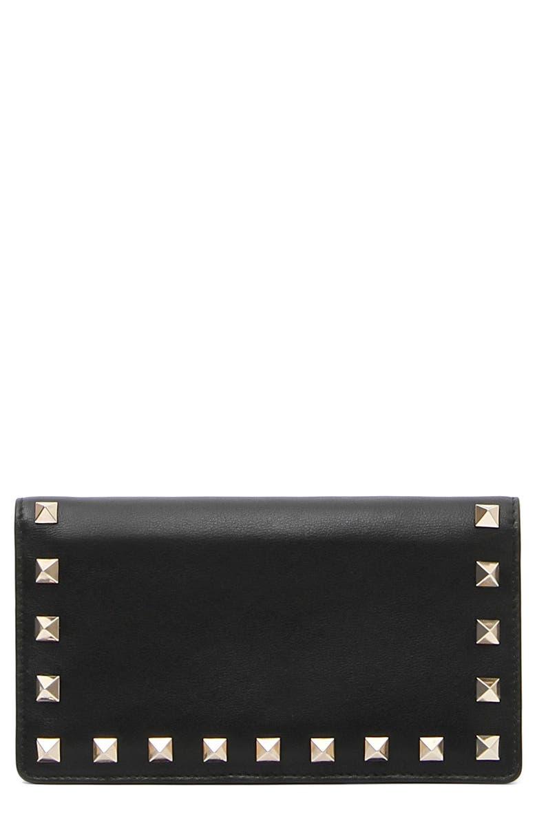 VALENTINO GARAVANI Rockstud Medium Continental Wallet, Main, color, 001