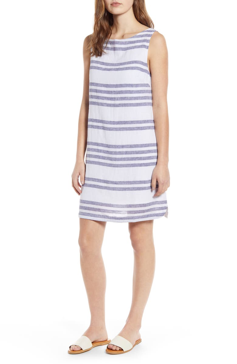 BEACHLUNCHLOUNGE Alina Stripe Linen & Cotton Shift Dress, Main, color, SKY
