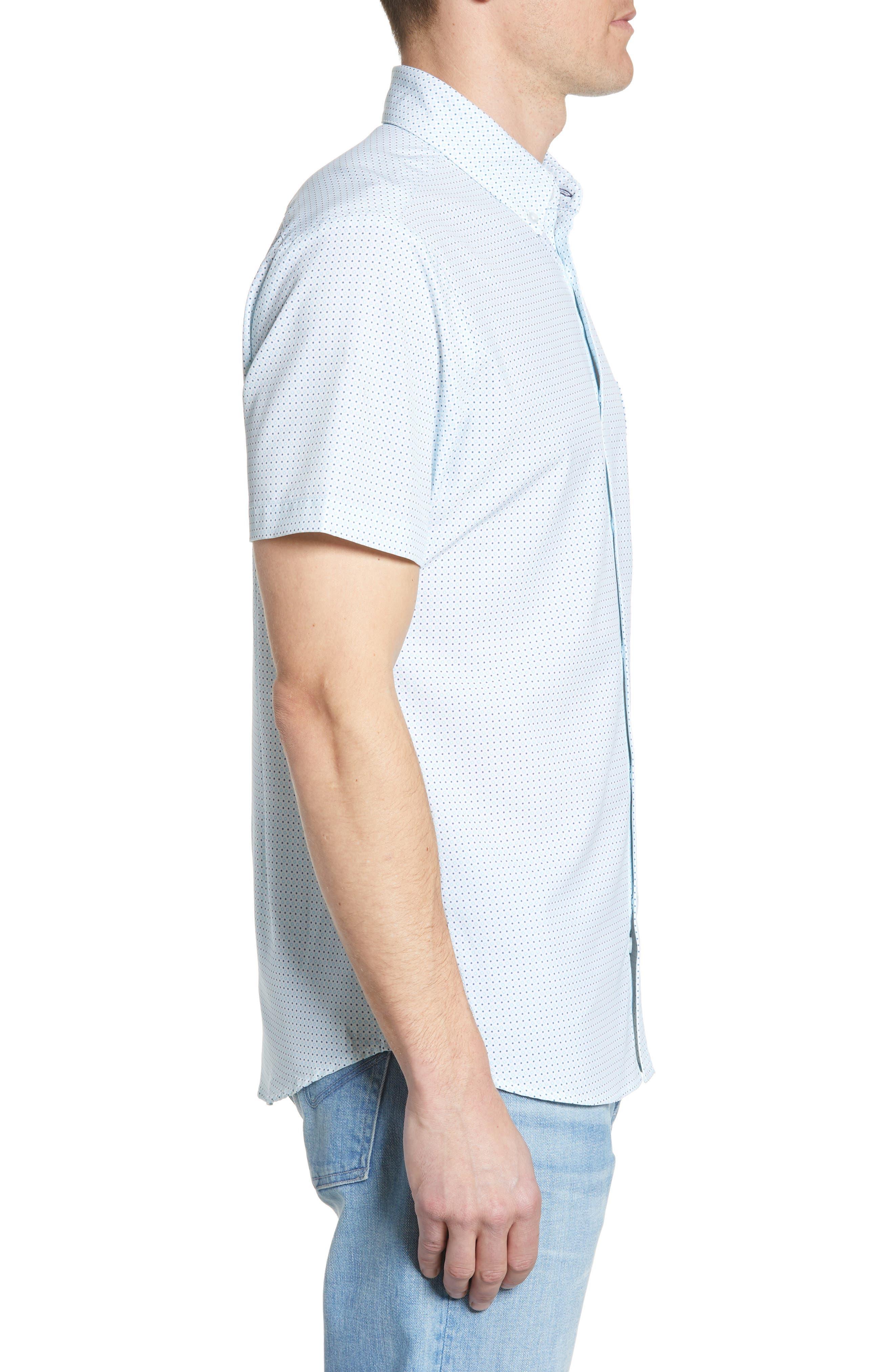 ,                             Burton Trim Fit Dot Print Performance Sport Shirt,                             Alternate thumbnail 4, color,                             BLUE