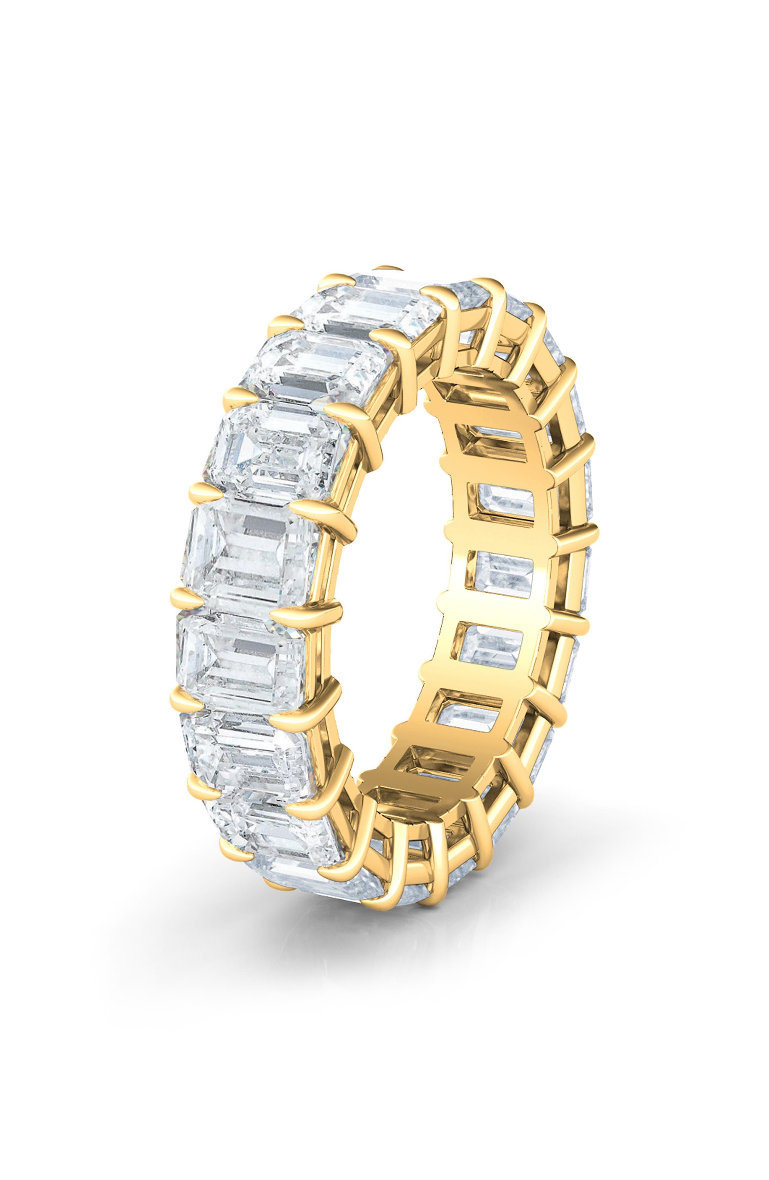 Emerald Cut 4.60Ct Tw Lab Created Diamond 18K Gold Eternity Band