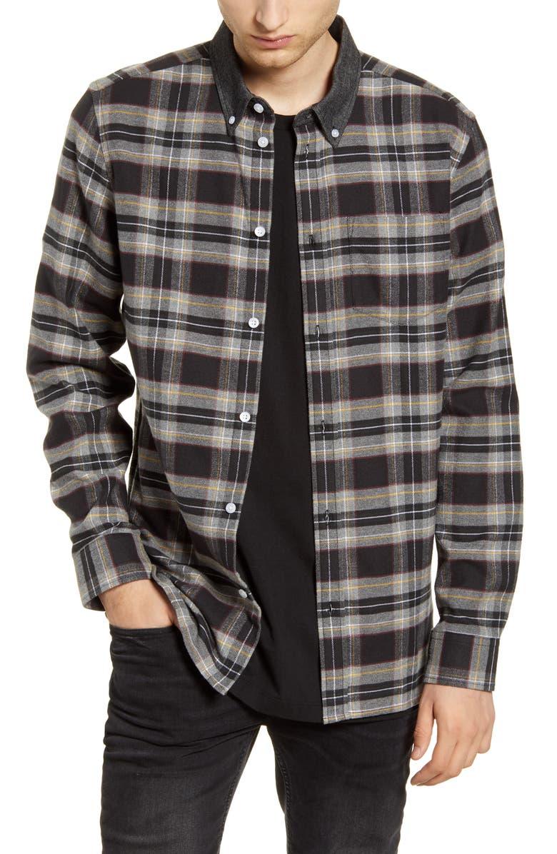 WESC Olavi Plaid Button-Down Flannel Shirt, Main, color, 001