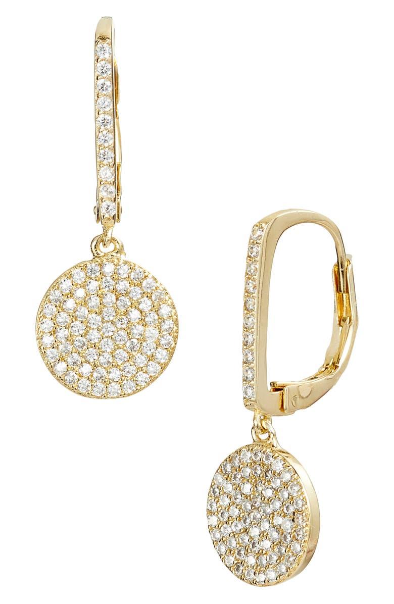 NORDSTROM Pavé Bar & Disc Drop Earrings, Main, color, CLEAR-GOLD