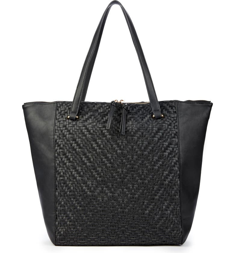 SOLE SOCIETY Woven Faux Leather Tote, Main, color, 001
