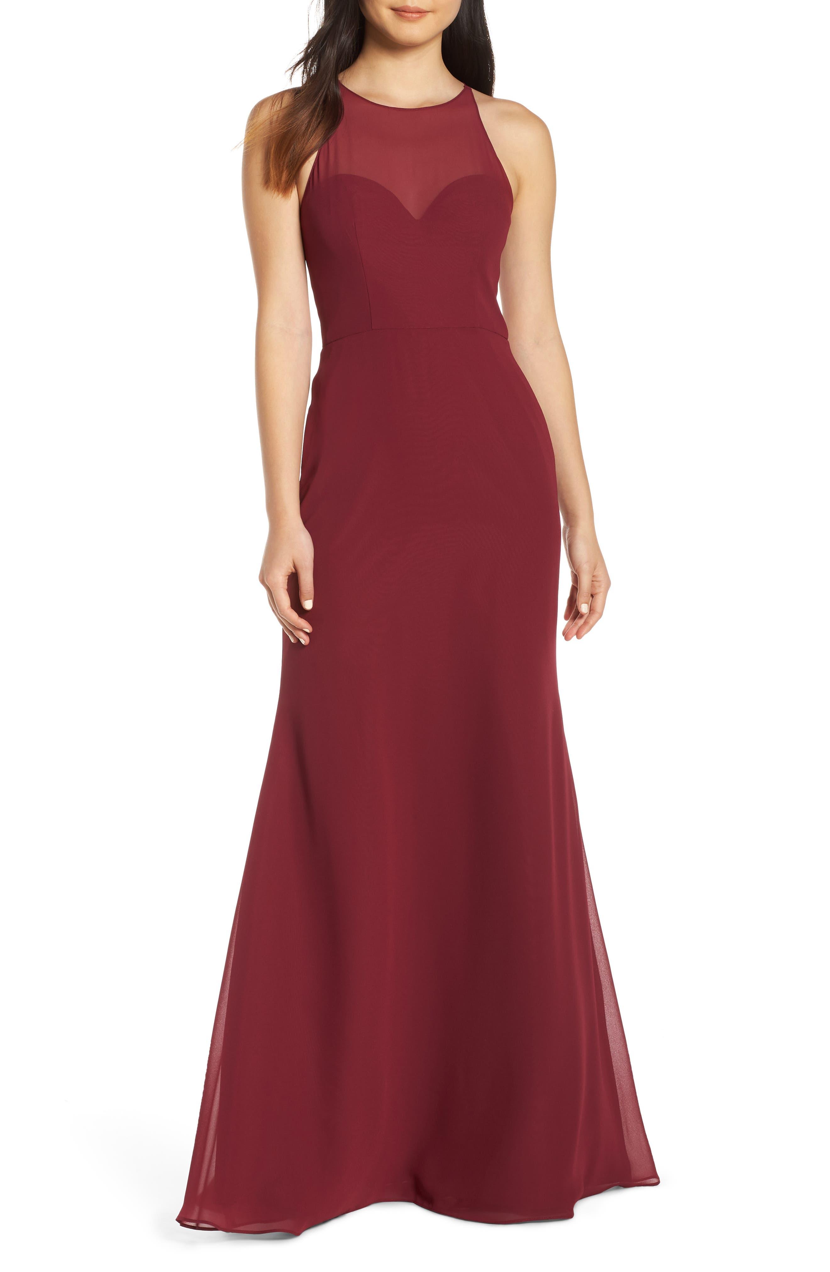 Hayley Paige Occasions Sheer Racerback Chiffon Evening Dress, Burgundy