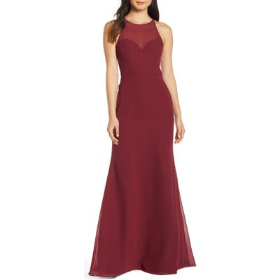 Hayley Paige Occasions Sheer Racerback Chiffon Evening Dress, Burgundy