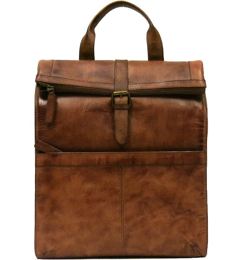 BOCONI Darius Leather Roll Top Backpack, Main, color, BROWN