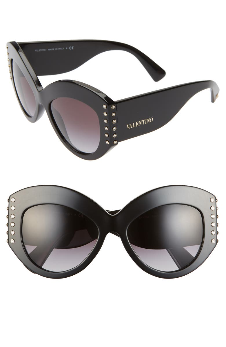 VALENTINO Phantos 55mm Cat Eye Sunglasses, Main, color, 001