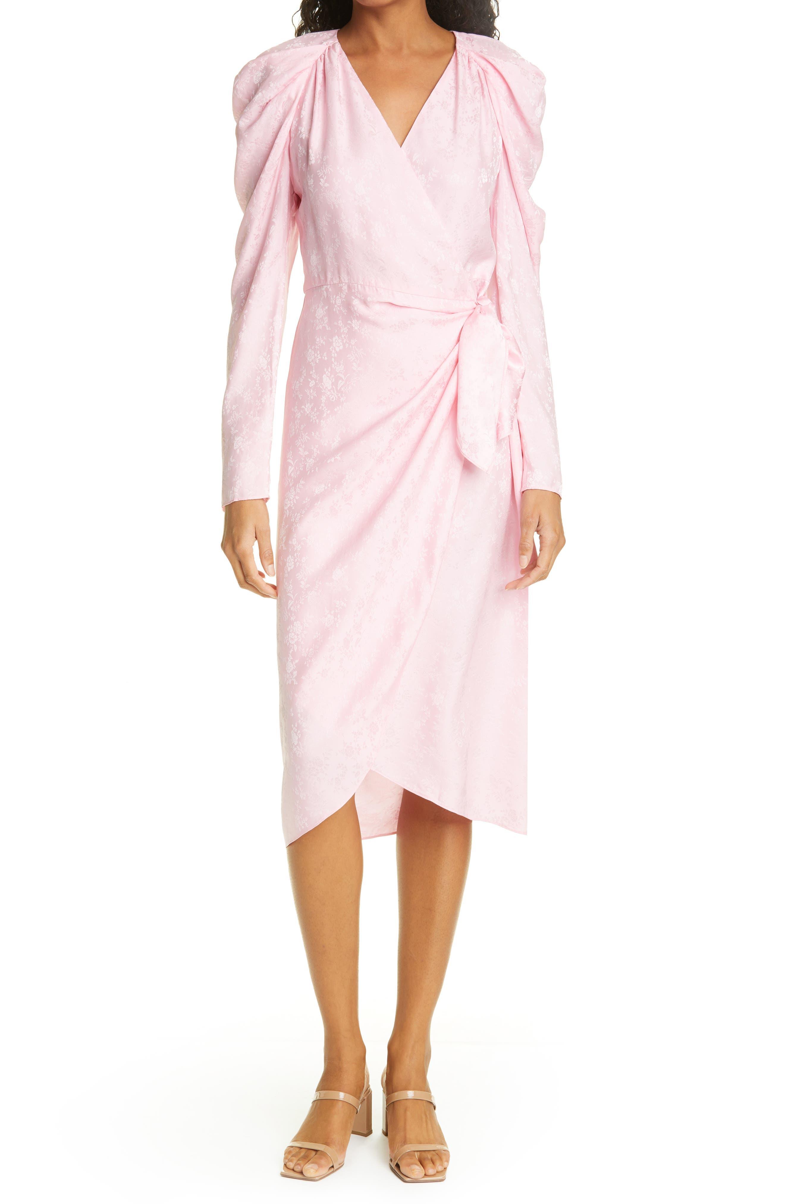 Floral Satin Jacquard Long Sleeve Wrap Dress