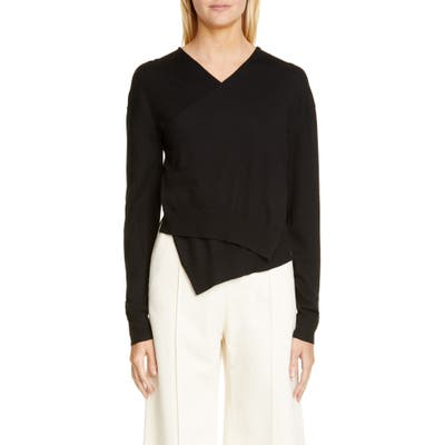 Rosetta Getty Wrap Front Merino Wool Sweater, Black
