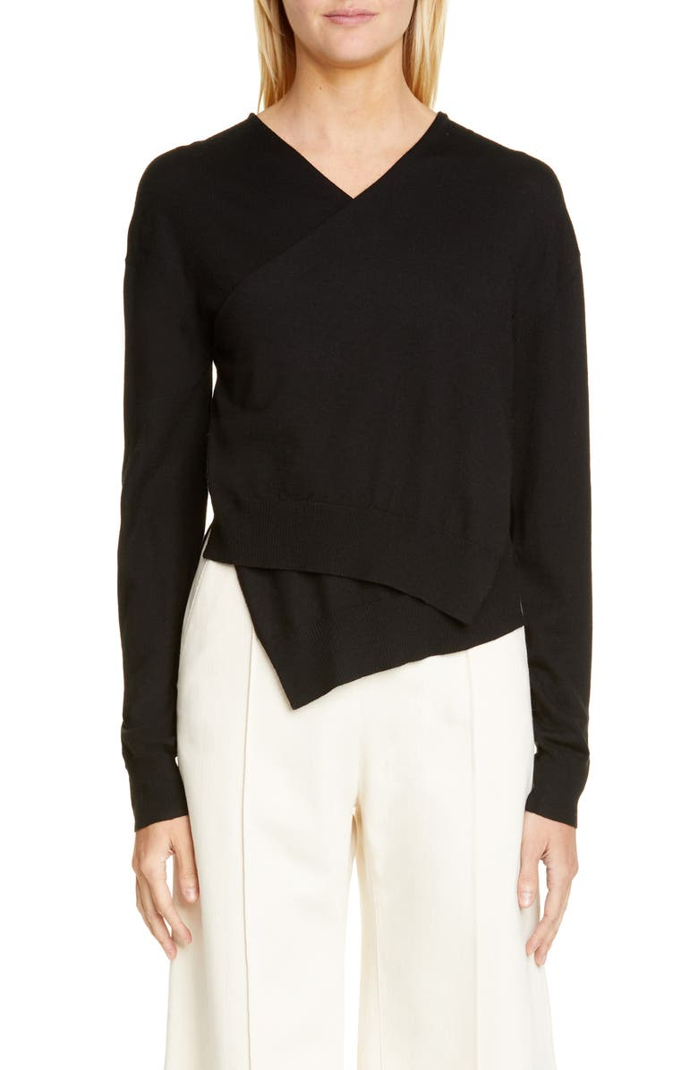 ROSETTA GETTY Wrap Front Merino Wool Sweater, Main, color, BLACK