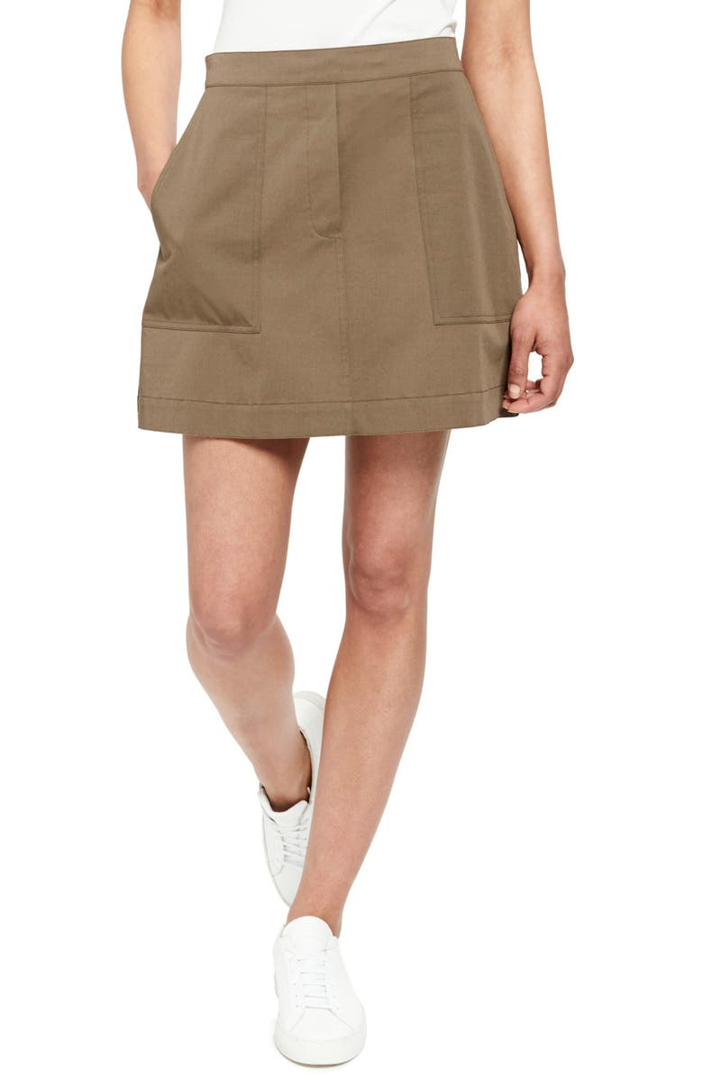 THEORY Stretch Cotton Miniskirt, Main, color, 300