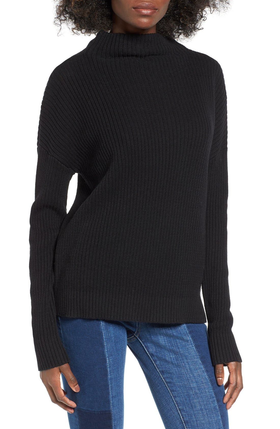,                             Mock Neck Sweater,                             Main thumbnail 1, color,                             001