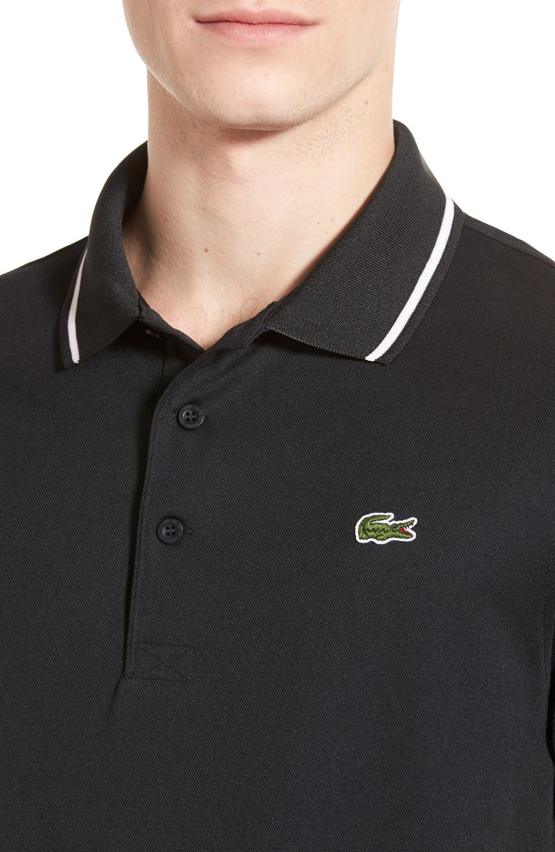 ,                             Regular Fit Tipped Quick Dry Piqué Polo,                             Alternate thumbnail 3, color,                             BLACK/ WHITE
