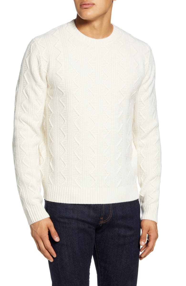 TODD SNYDER Cable Knit Crewneck Wool Sweater, Main, color, WHITE