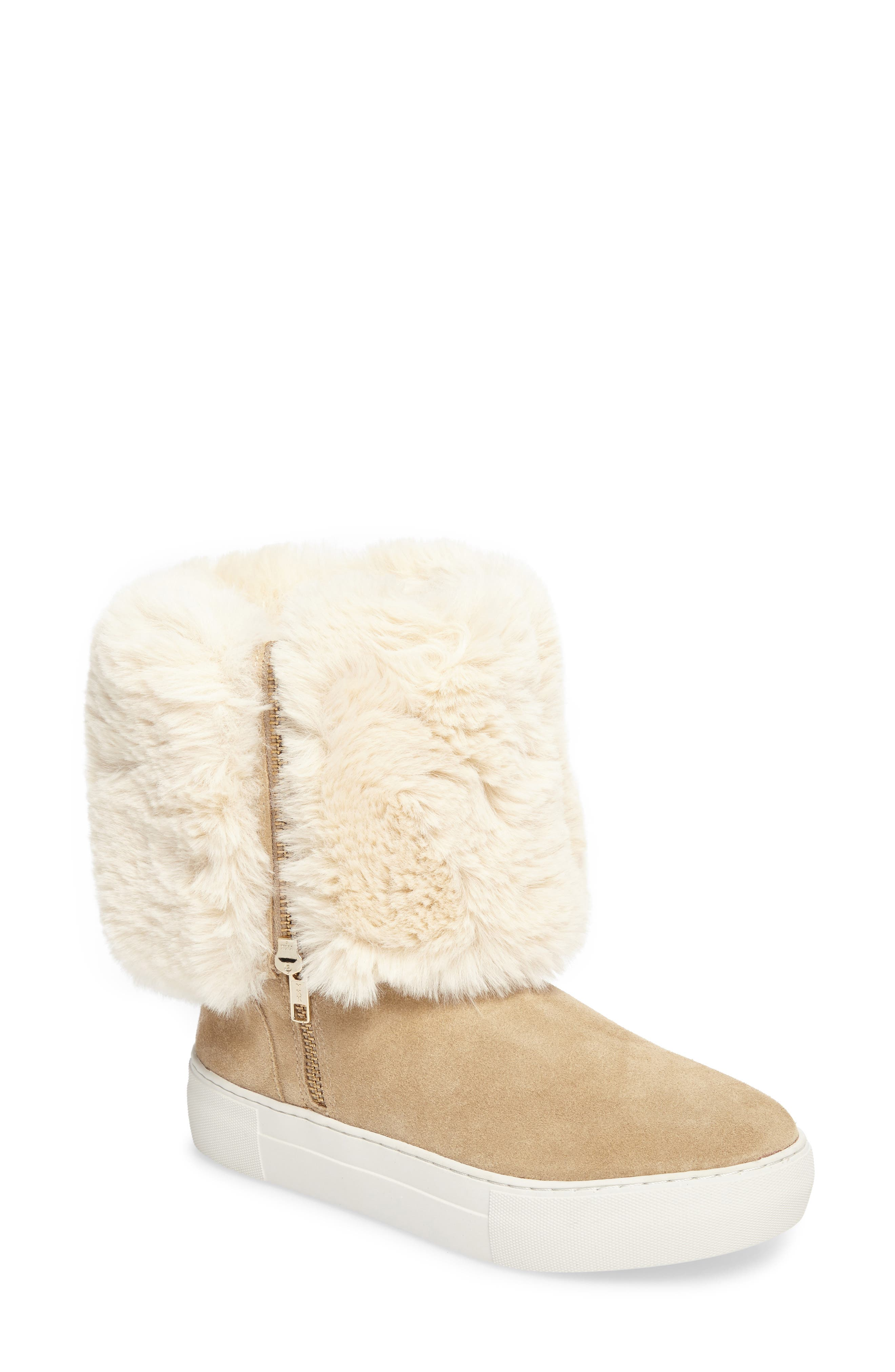 Jslides Apple Faux Shearling Boot, Beige
