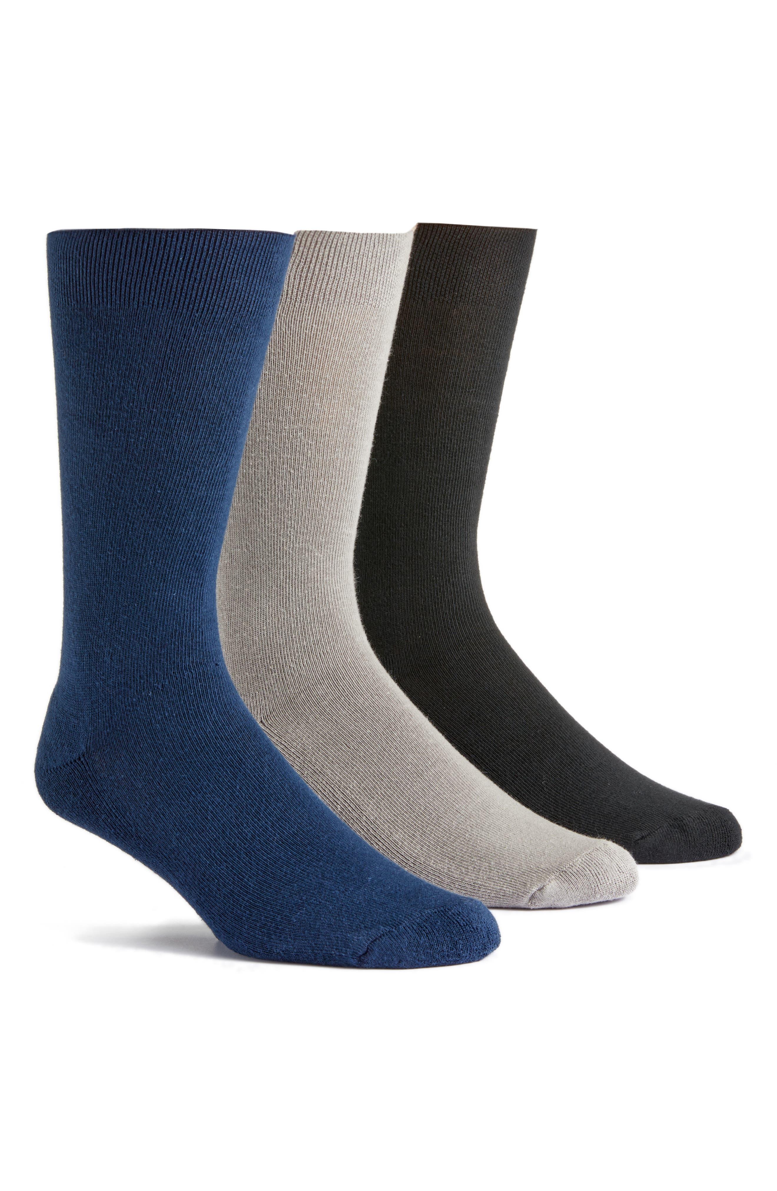 Assorted 3-Pack Organic Cotton Blend Cushion Crew Socks