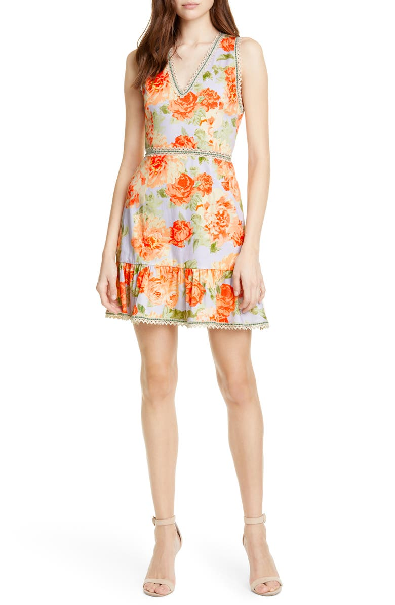 ALICE + OLIVIA Kirean Floral Minidress, Main, color, 500