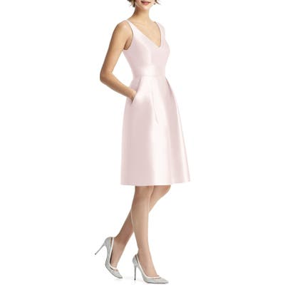 Alfred Sung V-Neck Satin Cocktail Dress, Pink