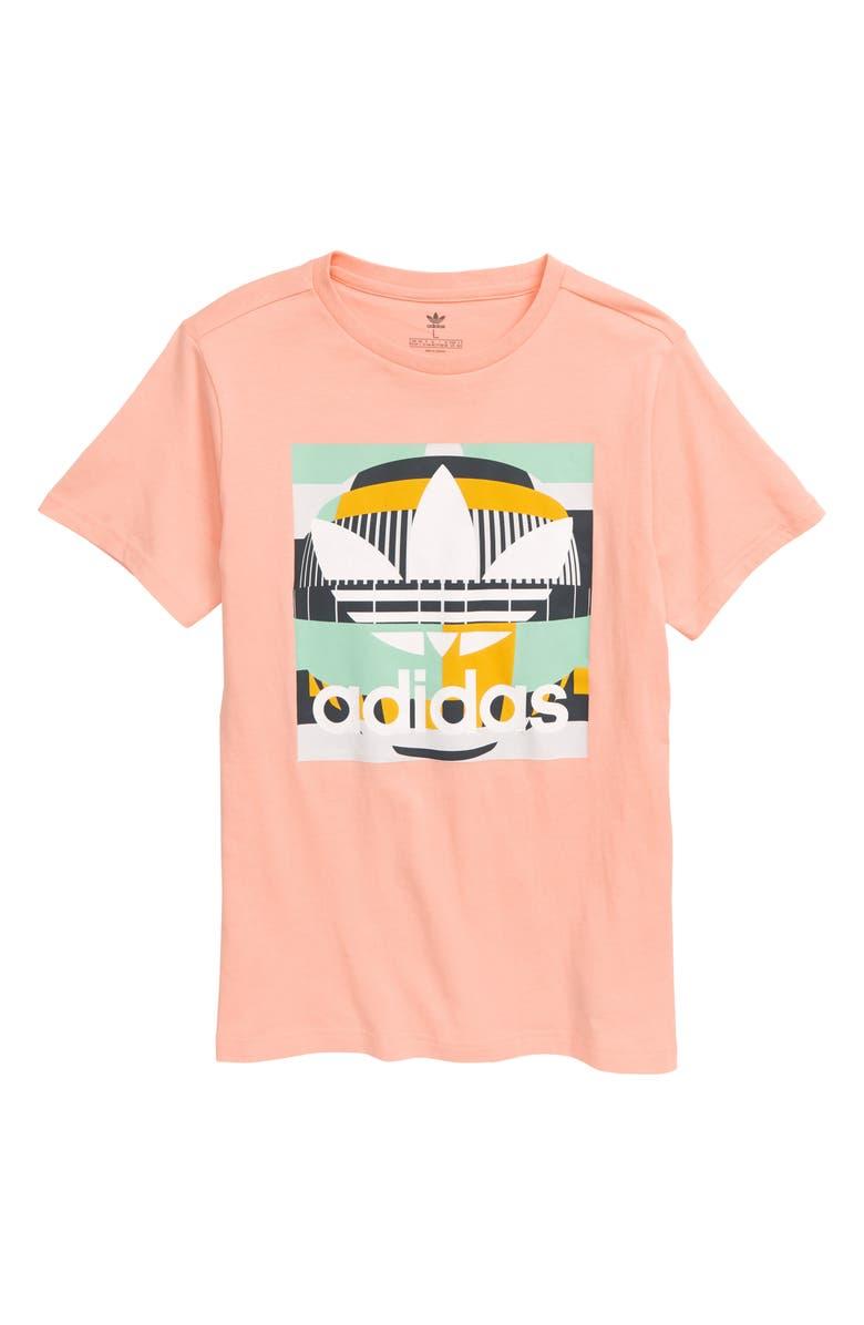 ADIDAS Graphic Tee, Main, color, GLOW PINK/ MULTICOLOR