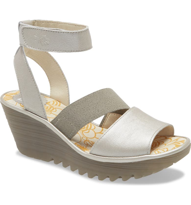 FLY LONDON Yode Wedge Sandal, Main, color, SILVER BORGOGNA LEATHER