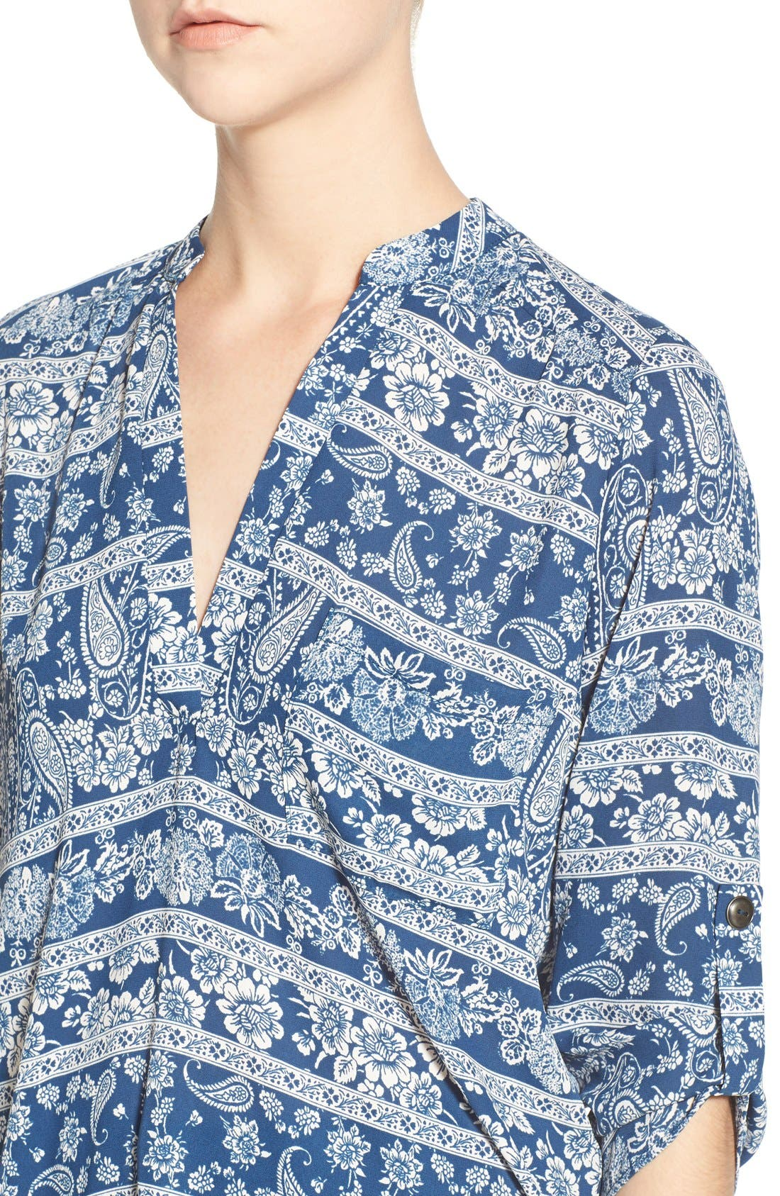 ,                             Perfect Roll Tab Sleeve Tunic,                             Alternate thumbnail 306, color,                             469