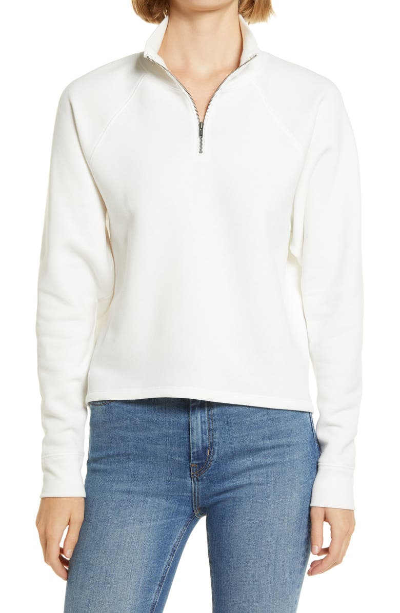 TREASURE & BOND Zip Mock Neck Sweatshirt, Main, color, IVORY