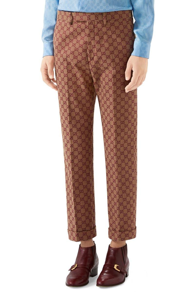 GUCCI GG Jacquard Straight Leg Pants, Main, color, BEIGE BORDEAUX