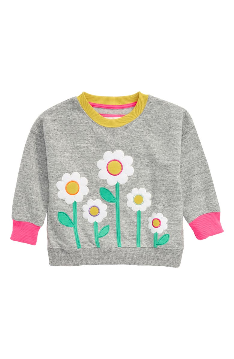 MINI BODEN Appliqué Sweatshirt, Main, color, GRY GREY MARL DAISIES